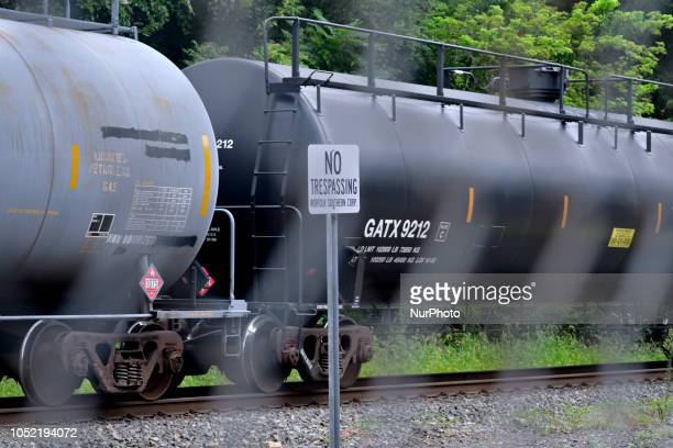 Freight train operated by Norfolk Southern roll past the former train station in Phoenixville PA on august 21 2018 To promote and secure it's recent...