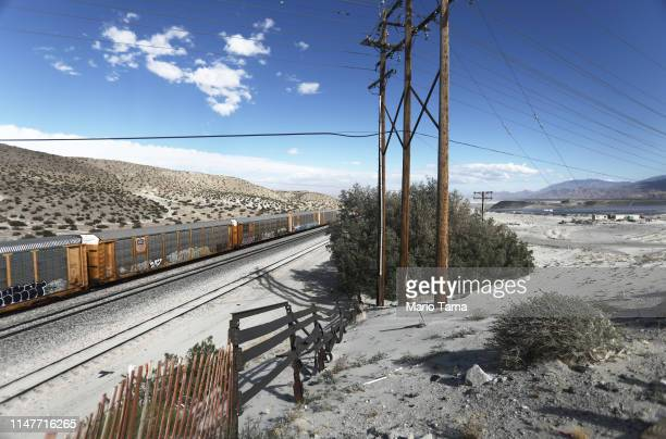 A freight train passes in the Coachella Valley on May 6 2019 in Palm Springs California California's Fourth Climate Change Assessment found that...