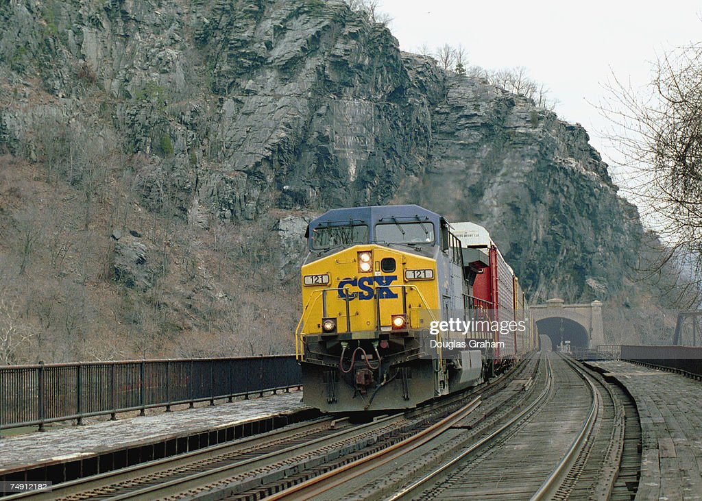 CSX freight train passes over the Potomac River from ...