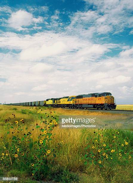 freight train passing through a field, north dakota, usa - north dakota stock pictures, royalty-free photos & images