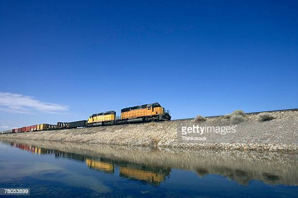 freight train - great salt lake stock pictures, royalty-free photos & images