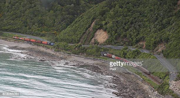 A freight train sitting where it came to a halt beside Highway One north of Kaikoura is seen on November 14 2016 in New Zealand The 75 magnitude...