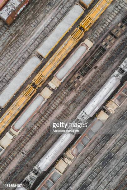 freight trains as seen from above, west midlands, england, united kingdom - horsedrawn stock pictures, royalty-free photos & images