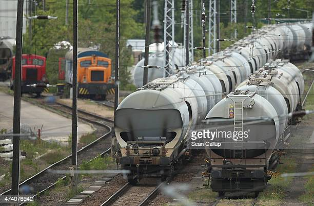 Freight trains stand idle during the first full day of a railway strike by the GDL train engineers' union on May 20, 2015 in Berlin, Germany....
