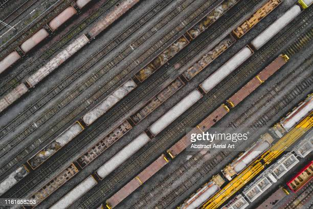 freight trains taken by drone, birmingham, england, united kingdom - horsedrawn stock pictures, royalty-free photos & images