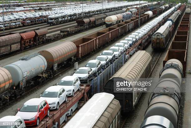 Freight trains wait at a freight depot in Munich, southern Germany, on May 4, 2015. Train drivers for German rail operator Deutsche Bahn announced a...