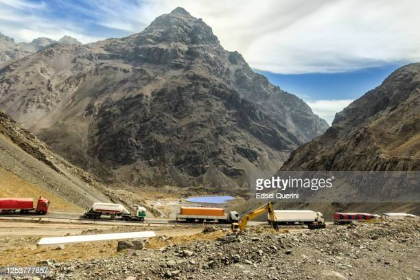 freight transportation between argentina and chile, through the los libertadores border crossing. - libertadores stock pictures, royalty-free photos & images