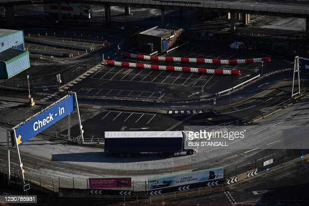 Freight truck disembarks a ferry at the Port of Dover on the south coast of England on January 25, 2021. - EU foreign policy chief Josep Borrell on...