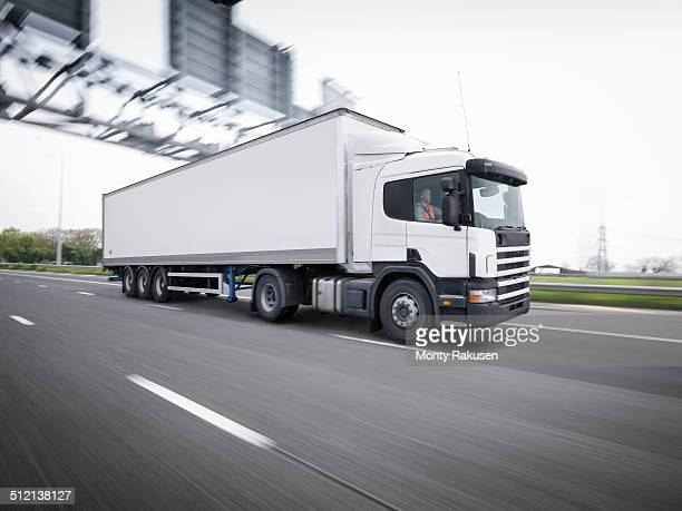 Freight truck on the move on motorway