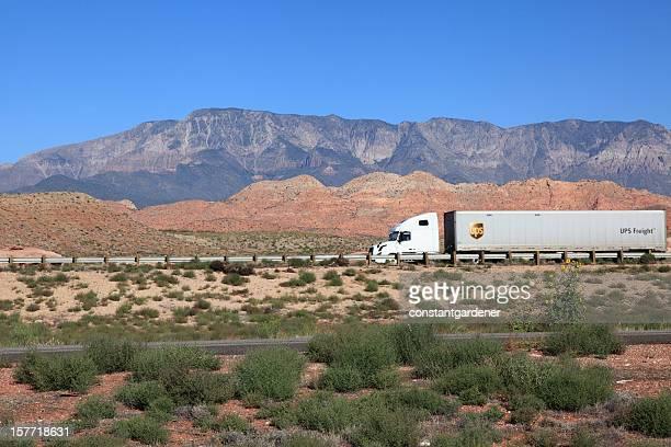 UPS Freight Truck Traveling Beautiful Highway In Utah