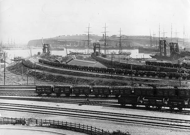 Freight trucks on the Railway at Barry Dock and Barry...