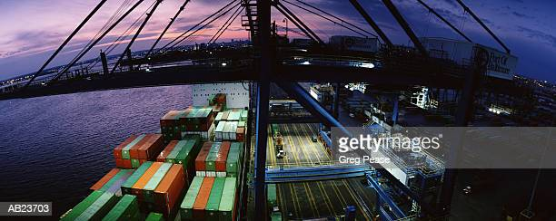 """freighter at dock, dusk (wide angle lens) - """"greg pease"""" stock pictures, royalty-free photos & images"""
