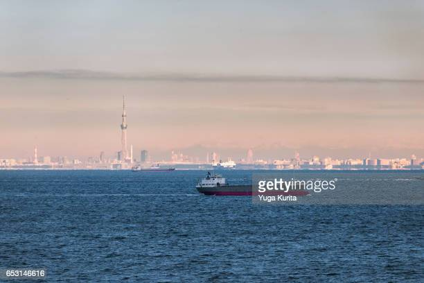 Freighter Floating on the Tokyo Bay