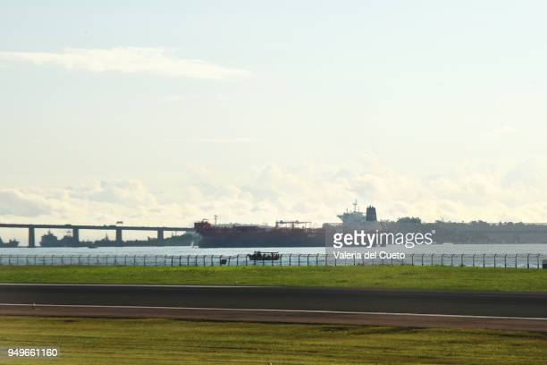 Freighter on the way to the port in Guanabara Bay, Rio de Janeiro. In the background the Ponte Rio - Niterói