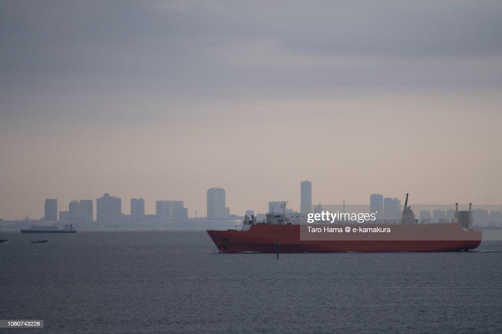 Freighter sailing on Tokyo Bay in the morning : ストックフォト