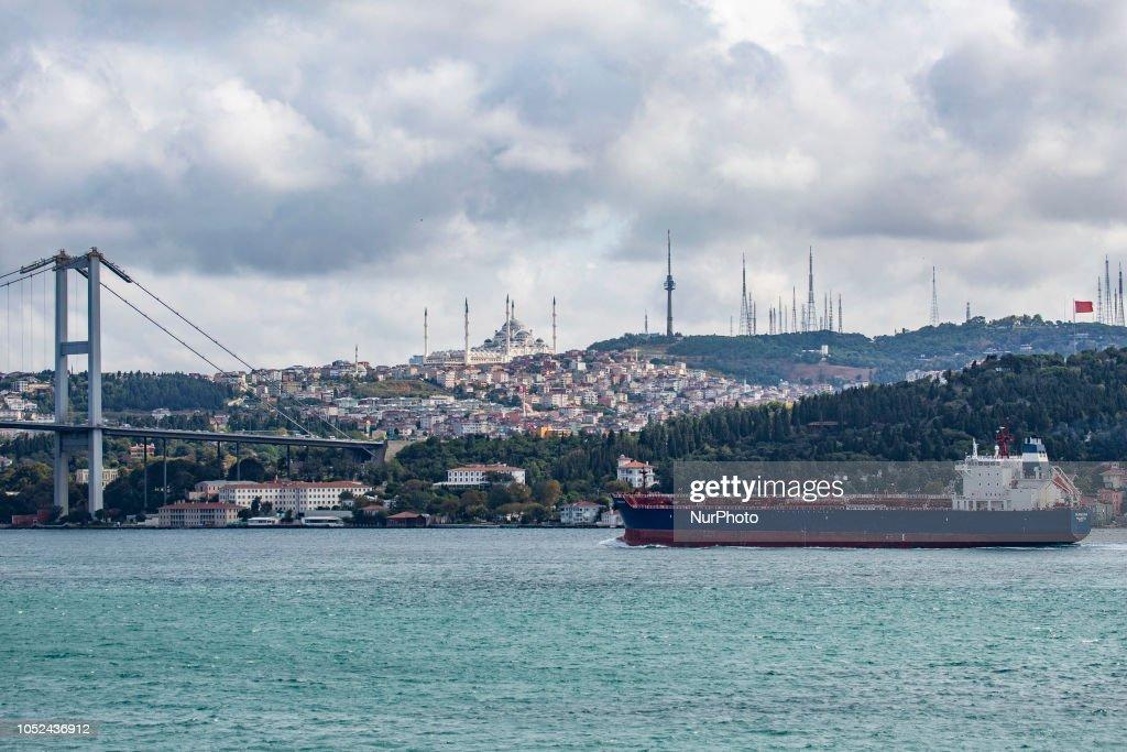 Freighter vessels in Bosporus, the Strait of Istanbul, Turkey : News Photo