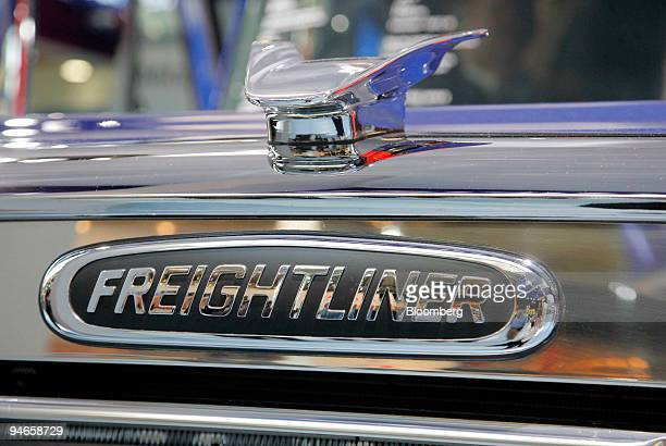 Freightliner logo is pictured at the DaimlerChrysler stand at the IAA Commercial Vehicles Show in Hanover Germany on Wednesday September 20 2006...