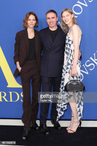 Freja Beha Erichsen Raf Simons and Julia Nobis attend the 2018 CFDA Awards at Brooklyn Museum on June 4 2018 in New York City
