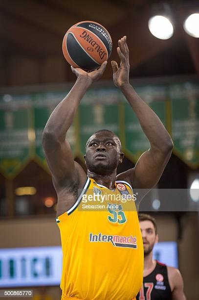 Frejus Zerbo #55 of Limoges CSP in action during the Turkish Airlines Euroleague Basketball Regular Season Round 9 game between Limoges CSP v...