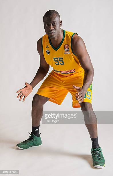 Frejus Zerbo #55 of Limoges CSP poses during the Limoges CSP 2014/2015 Turkish Airlines Euroleague Basketball Media Day at Beaublanc on September 10...
