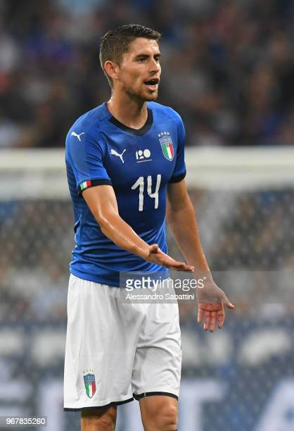 Frello Filho Jorge Luiz Jorginho of Italy gestures during the International Friendly match between France and Italy at Allianz Riviera Stadium on...