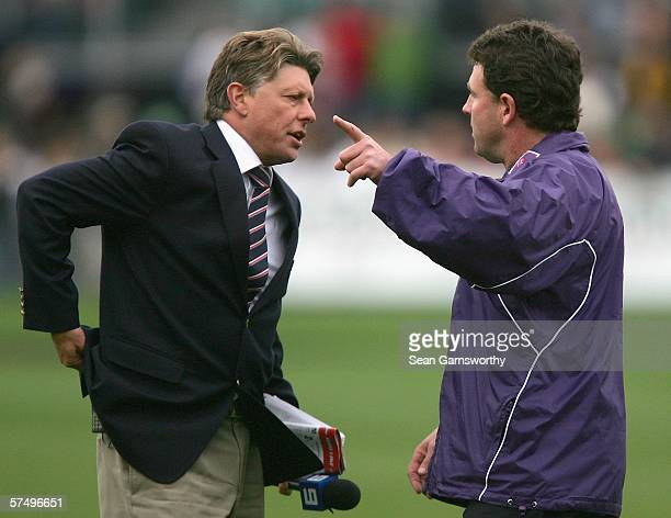 Fremantle coach Chris Connolly has a discussion with channel nine commentator Michael Roberts after the umpires did not hear the finals siren after...