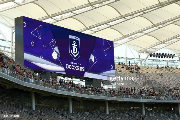 Fremantle Dockers AFL signage is displayed on the large screens at Optus Stadium on January 21 2018 in Perth Australia The 60000 seat multipurpose...