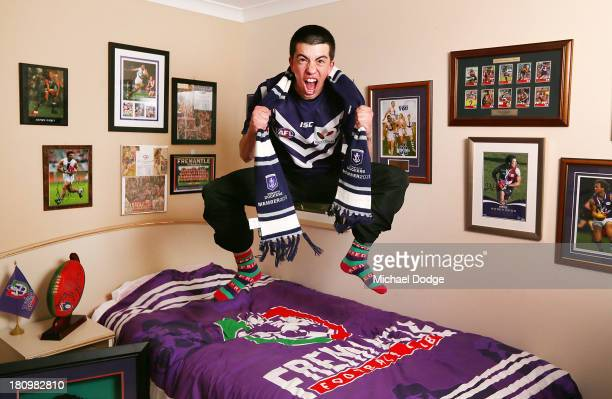 Fremantle Dockers fan David Winklis shows his support at home on September 18 2013 in Fremantle Australia The Fremantle Dockers play the Sydney Swans...