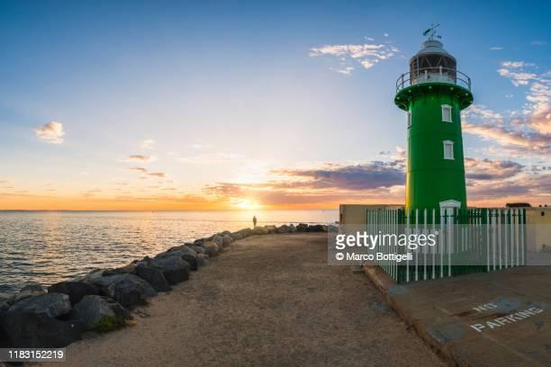fremantle lighthouse at sunset, western australia - フリーマントル ストックフォトと画像