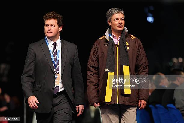 Fremantle Vice President Ben Allan and Hawthorn President Andrew Newbold arrive for the 2013 Blackwoods North Melbourne Grand Final Breakfast at...