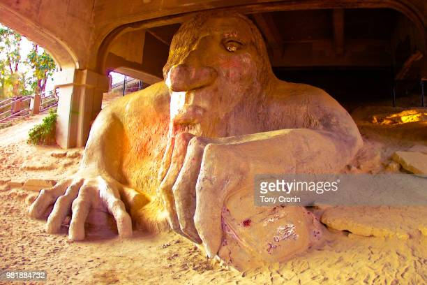 fremont bridgetroll seattle - troll stock photos and pictures