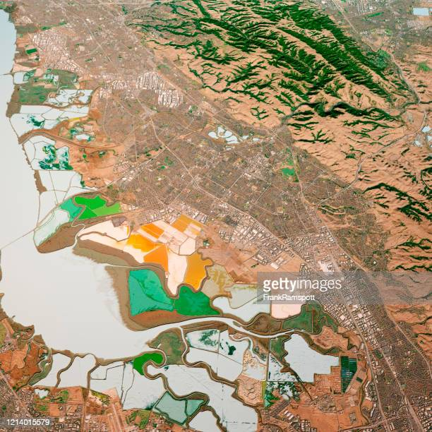 fremont california 3d render map color top view nov 2019 - fremont california stock pictures, royalty-free photos & images
