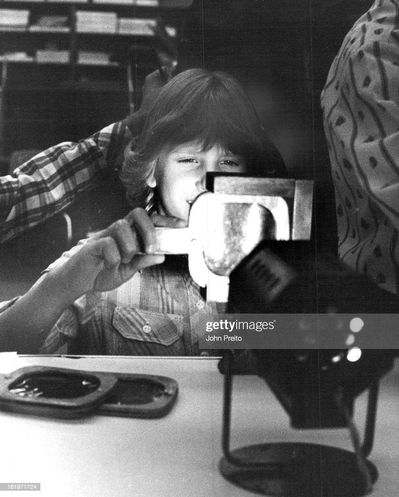 APR 28 1982, MAY 12 1982, AUG 12 1984; Fremont Elem 4-28-1982 'Color Demostration' Erika Leetmae using color Paddles;