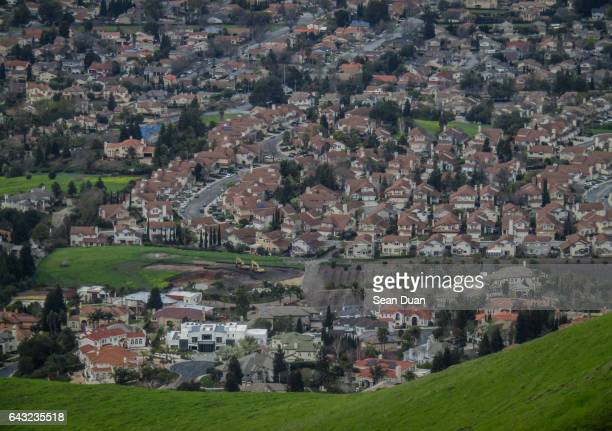 fremont housing below  mission peak - fremont california stock pictures, royalty-free photos & images