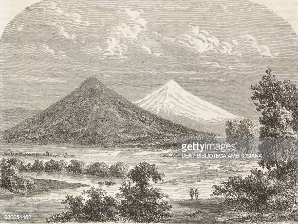 Fremont Peak at the entrance to the Rocky Mountains United States of America drawing by Dieudonne Lancelot from the Reports of Exploration from The...