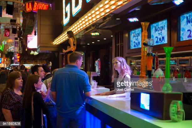 fremont street experience in downtown las vegas - fremont street experience stock pictures, royalty-free photos & images