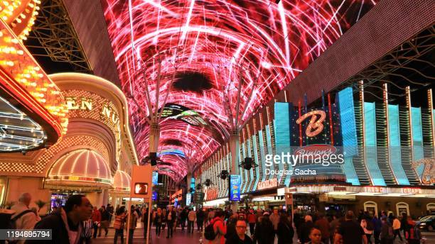 fremont street experience in old town las vegas - fremont street experience stock pictures, royalty-free photos & images