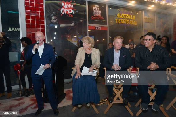 Fremont Street Experience President and CEO Patrick Hughes speaks as Las Vegas Mayor Carolyn Goodman CoHead of InHouse Studio at AMC Networks Inc...