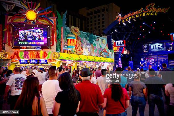 fremont street on independence day 2015 - fremont street las vegas stock pictures, royalty-free photos & images