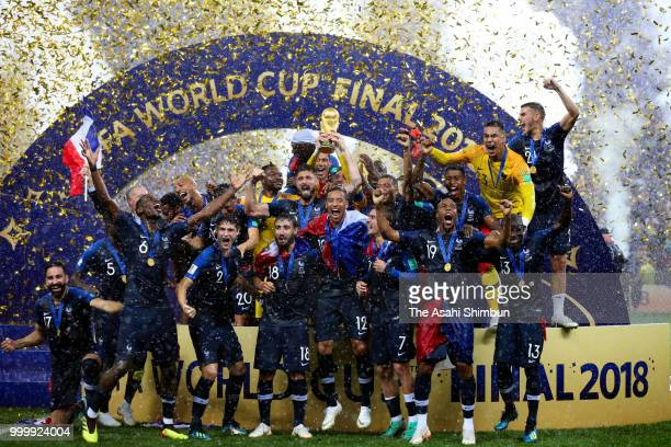 Frence players celebrate after the 2018 FIFA World Cup Final between France and Croatia at Luzhniki Stadium on July 15 2018 in Moscow Russia
