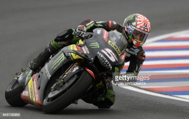 TOPSHOT Frence's biker Johann Zarco rides his Yamaha to get the third place during the MotoGP qualifying session of the Argentina Grand Prix at...