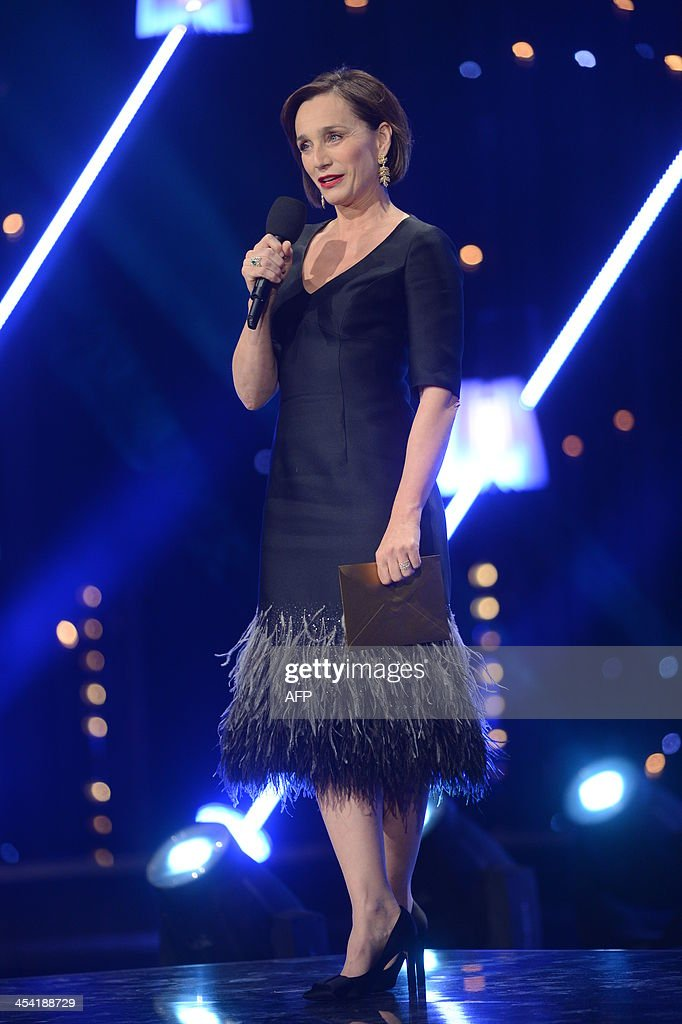 Frencg actress Kristin Scott Thomas addresses the 26th European Film Awards ceremony on December 7, 2013 in Berlin. Every year, the various activities of the European Film Academy culminate in the ceremony of the European Film Awards. In a total of 21 categories, among them European Film, European Director, European Actress and European Actor, the European Film Awards annually honour the greatest achievements in European cinema.