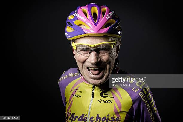 French 105yearold Robert Marchand poses during a photo session in Paris on January 5 a day after he set a new onehour cycling record for his age...