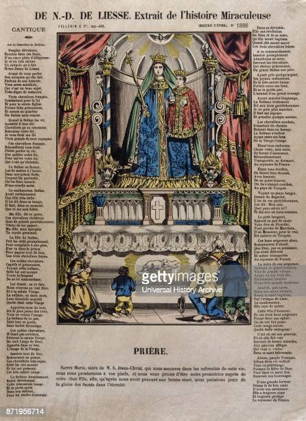 French 19th century coloured illustration showing the Virgin Mary with Jesus as a boy