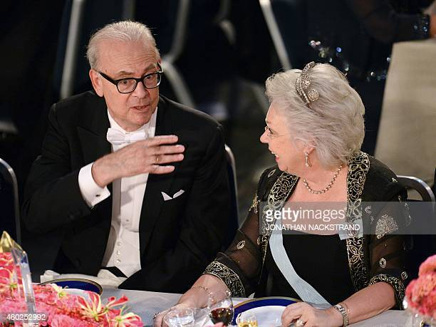 French 2014 Nobel Literature laureate Patrick Modiano speaks with Princess Christina Mrs Magnuson during the traditional Nobel Prize banquet at the...
