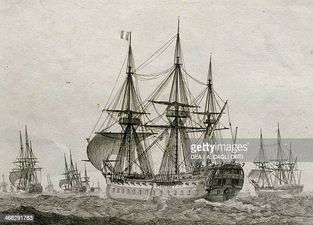 French 74gun ship escorting a convoy of merchant ships by Jean Jerome Baugean engraving 18th century