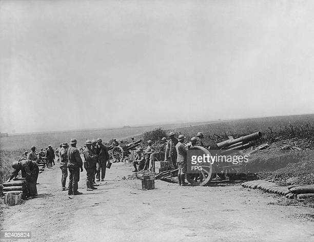 French 75mm field guns in operation during the Second Battle of the Marne, World War I, July 1918.
