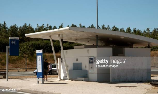 French A10 AutoRoute service area the Aire St Ledger France Male and female toilet facilities on a French motorway service area