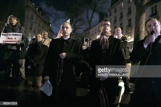 French abbot Xavier Beauvais Prior of SaintNicolasduChardonnet church speaks during a protest organized by fundamentalist Christians group Civitas...