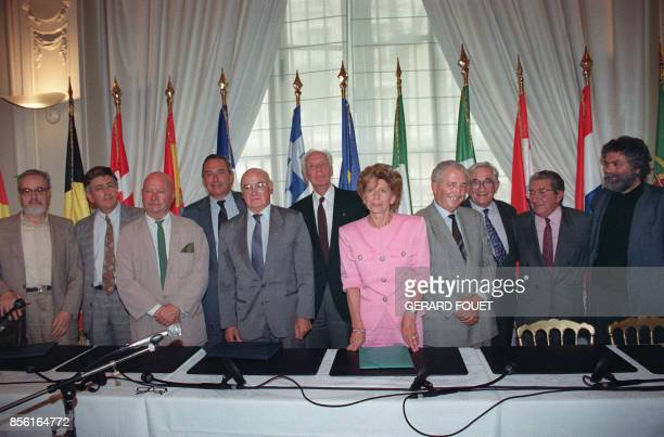 French academician Helene Carrere d'Encausse introduces the national committee in favor of the 'yes' vote in Maastricht European Union treaty...